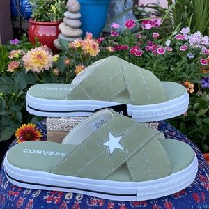 New Olive Green Suede One Star Converse Slides 9